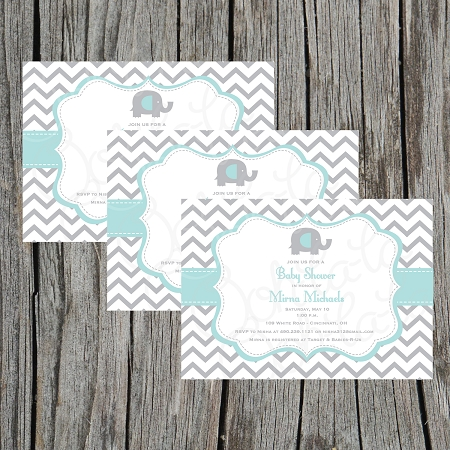 Mint Green And Grey Baby Shower Invitation