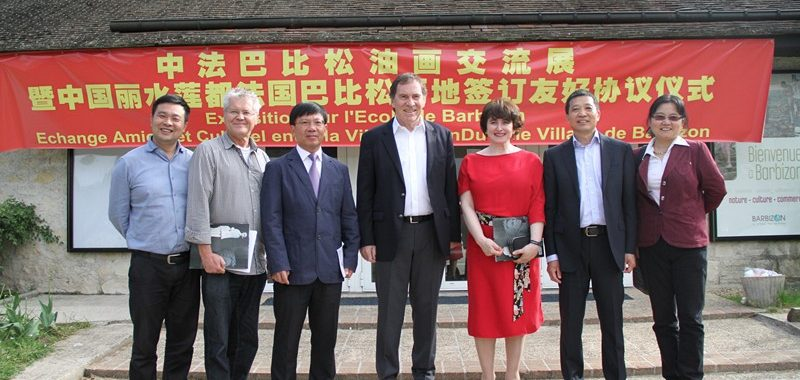 Exposition d'art franco-chinois et échange culturel entre le village de Barbizon et la ville de Lishui, mai 2015.