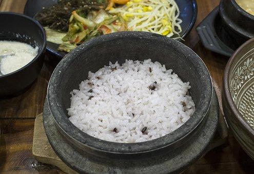 Corée, Repas, Riz, Pot En Pierre