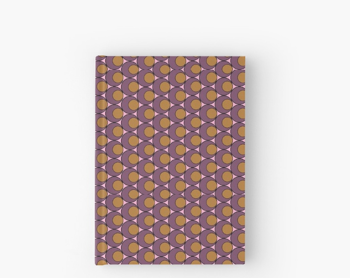 retro circles and stars hardcover journal