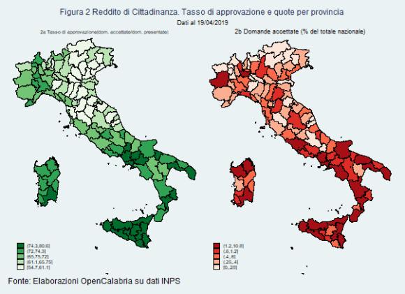 reddito di cittadinanza per regioni