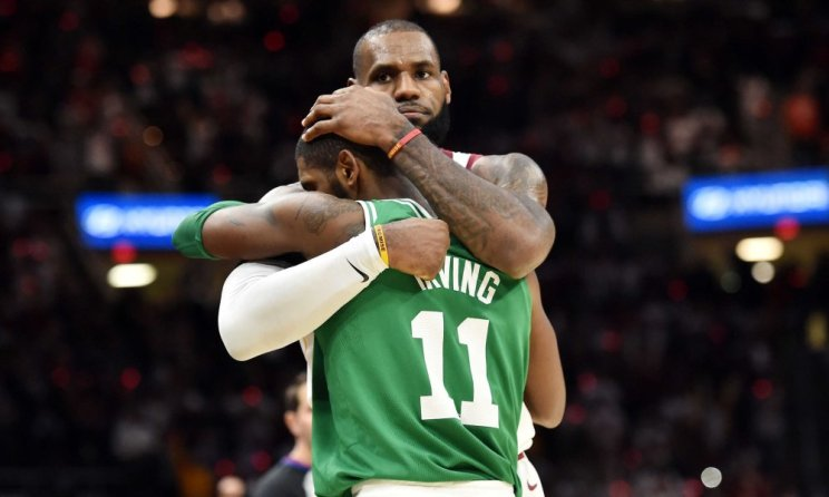 Image result for lebron vs kyrie hug