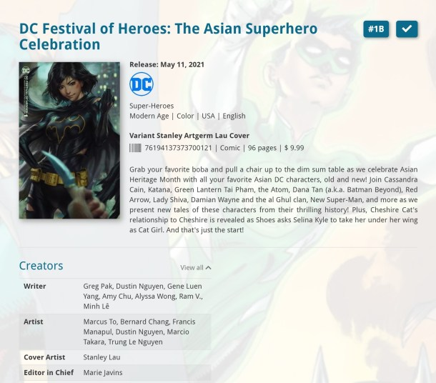 """A database entry for the DC FESTIVAL OF HEROES: THE ASIAN SUPERHERO CELEBRATION featuring the variant cover by Stanley """"Artgerm"""" Lau listing a sampling of the creators behind it."""