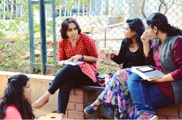 Picture by Nandita Raghunath. Ila, me, Drishti, and Vismaya. TransFerrante, Meta 2017