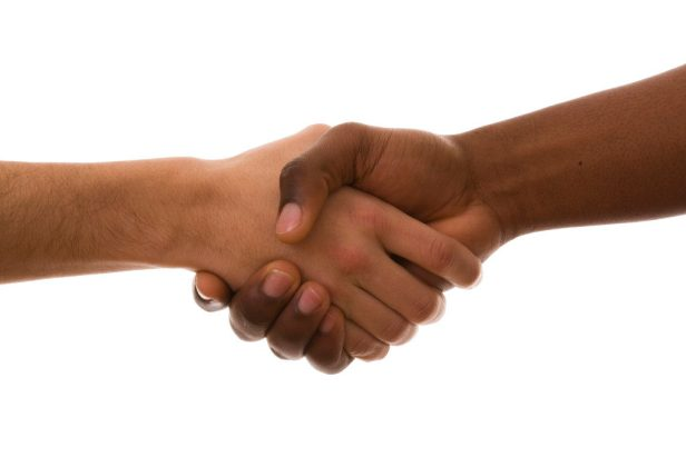 multirracial handshake