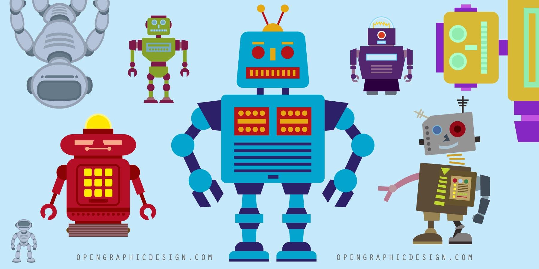 Free Retro Robot Toys In Scalable Vector Art