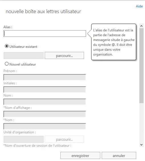 Panneau d'administration CreateMailbox pour une migration Exchange 2010 vers 2016