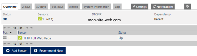 Sonde pour site web HTTP monitoring serveur virtuel distant