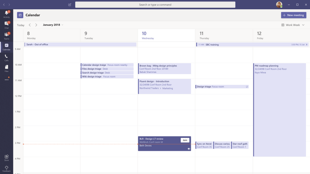 Nouveau calendrier app Teams O365 intégration meetings Outlook