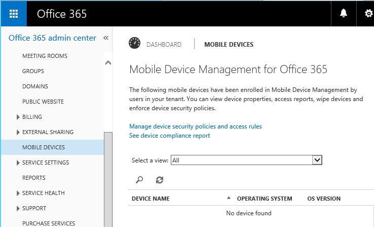 Mobile Device Management Office 365 pour gérer la politique de sécurité des appareils mobiles