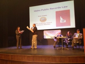 The IDOG open government seminar in Twin Falls on Tuesday evening included interactive skits like this one, in which members of the audience portrayed reporters, citizens, or local government officials correctly - or incorrectly - following the Open Meeting Law or Public Records Law.