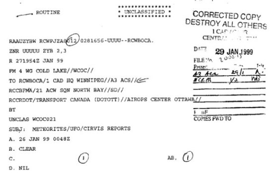 Excerpt from a Canadian CIRVIS UFO file. (Credit: TheBaclVault/Canadian Government)
