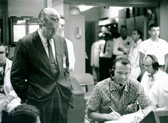 Dr. Wernher von Braun and Astronaut L. Gordon Cooper during the MR-3 (Freedom 7) mission on May 5, 1961, which put the first American, Alan Shepard, in space. (image credit: NASA)