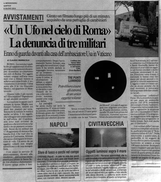 Il Messaggero newspaper article on the June 6th sighiting.