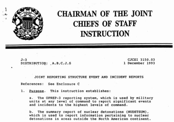 Joint Chiefs of Staff version of OPREP-3 reporting instructions found in DoD file released to Armen Victorian. (Credit: JCS/DoD)