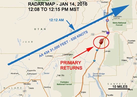 Radar hits in relation to the flight path. The times in this graphic mistakenly show pm, instead of am. (Credit: UFOs Northwest)