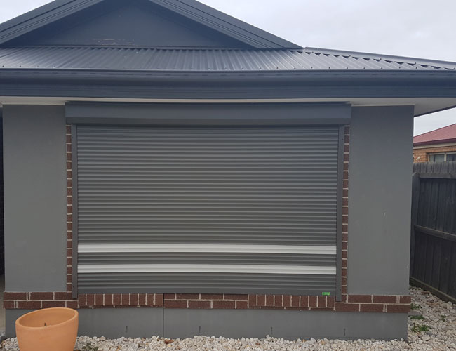 Grey Outdoor Installed Roller Shutters in Adelaide
