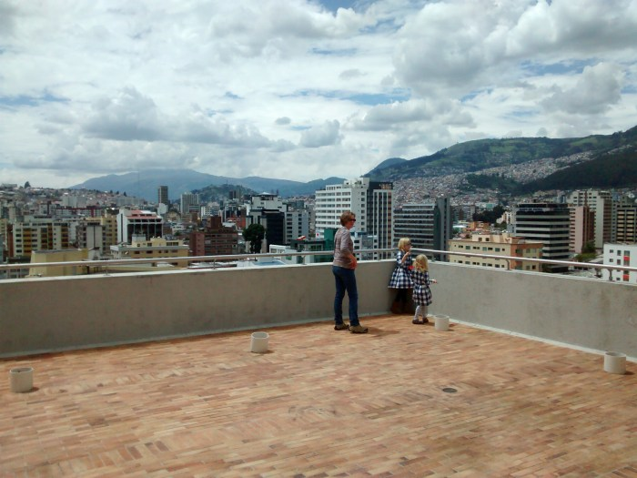 view of Quito, Ecuador from rooftop of Holiday Inn Express