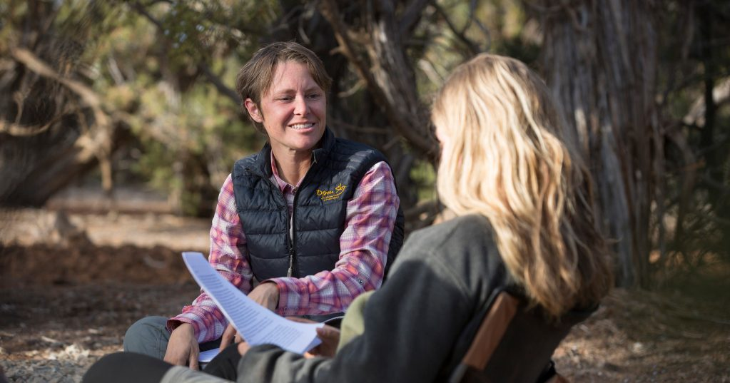 Senior clinical therapist Kirsten Bolt works with an adolescent girl at Open Sky Wilderness Therapy.