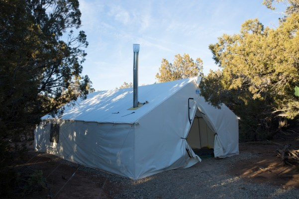 Base camp wall tent - part of the infrastructure in place to for safety in winter at Open Sky Wilderness Therapy.