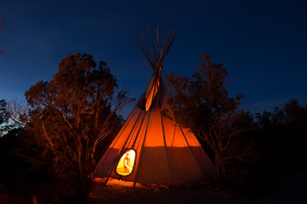 Base camp tipi - part of the infrastructure in place to for safety in winter at Open Sky Wilderness Therapy.