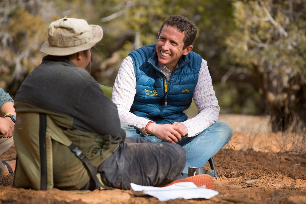 Clinical therapist Jonathan Mitchell working with a student in the field.