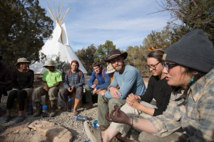 A group of therapists, guides, and students at Open Sky Wilderness Therapy.