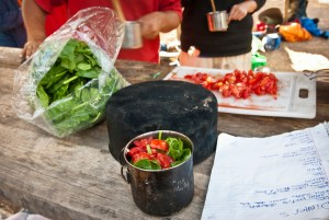 Meal preparation while at base camp at Open Sky Wilderness Therapy.