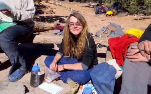 Young adult student at Open Sky Wilderness Therapy base camp