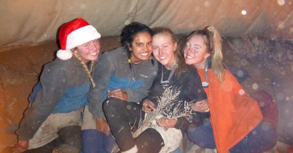 Adolescent girls celebrate the holidays in wilderness therapy