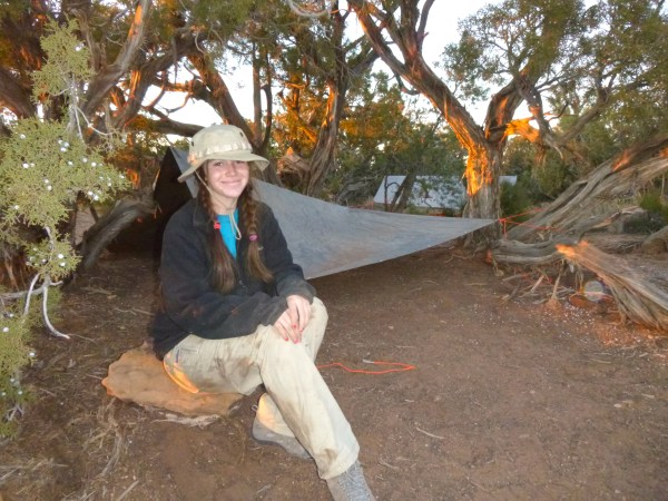 Nicole (Open Sky alumni student) during her time in wilderness.