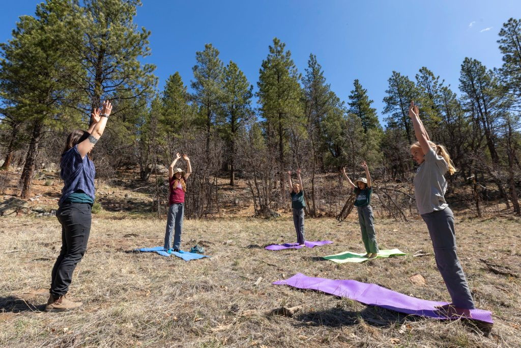 A group of early adolescent students at Open Sky Wilderness Therapy do yoga together in a field.