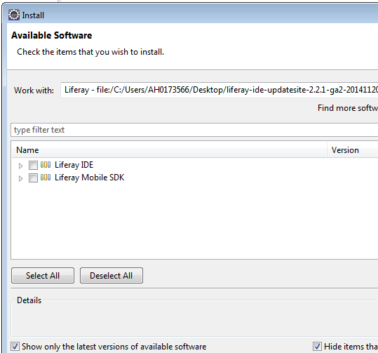 Install Liferay eclipse plugin - available software