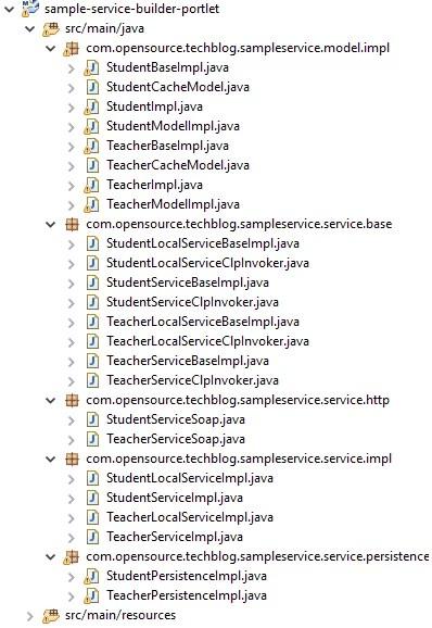Liferay maven service builder - classes of portlet module