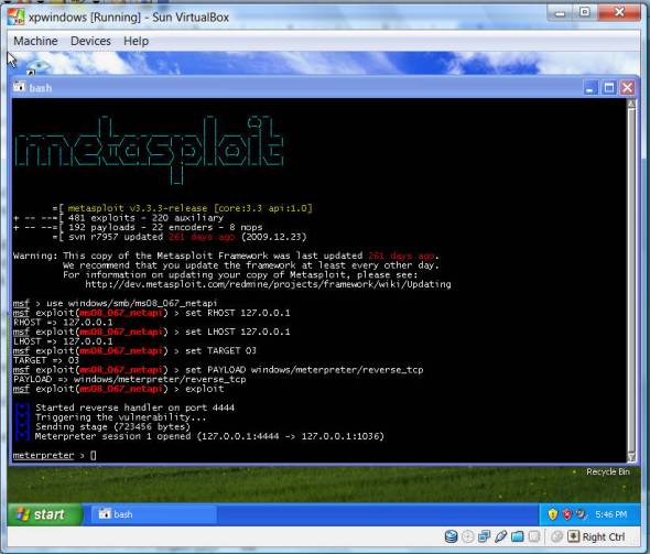Meterpreter command shell