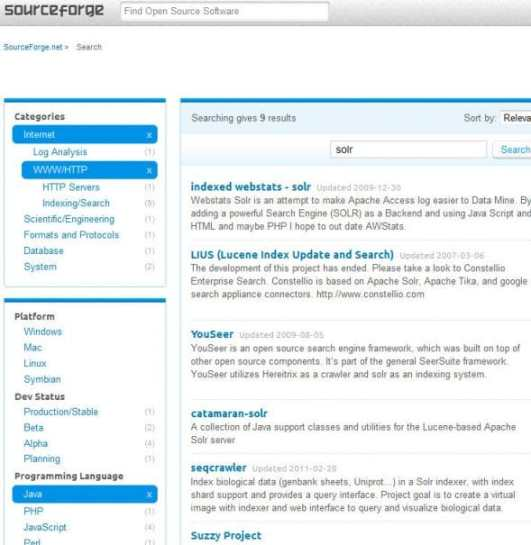A live example of Facets in the search application of the SourceForge website