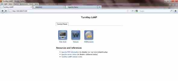 Turnkey Linux LAMP home page