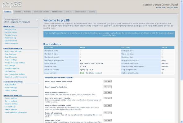 phpBB Administrator Control Panel (ACP)