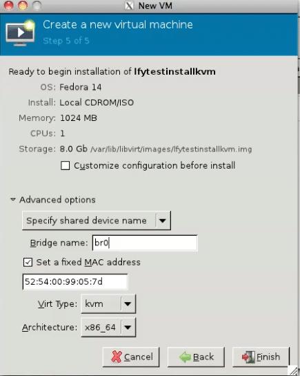 Choosing the bridged device in KVM