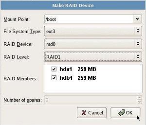 Creating RAID partitions
