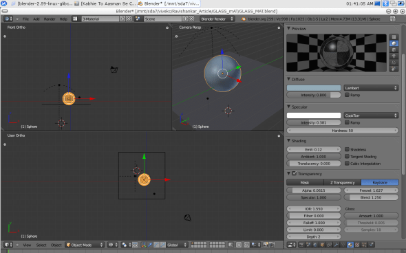 The Material UI of Blender with the glass settings