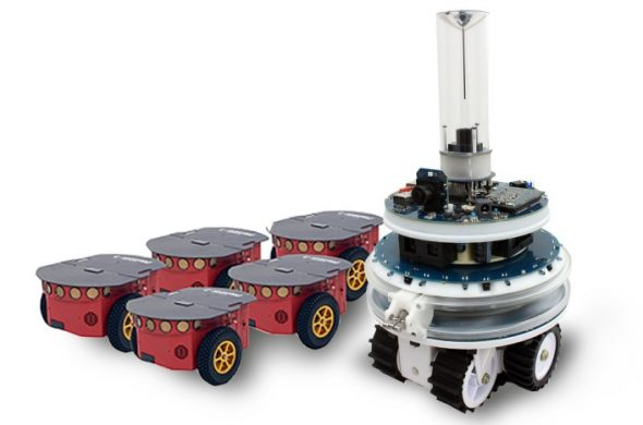 From left to right: Pioneer robots and the Foot-bot robot