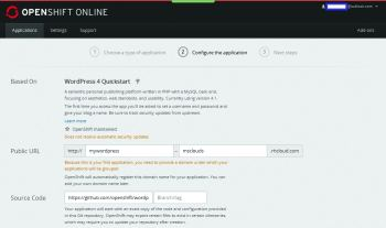 Figure 3: WordPress configuration on OpenShift-I