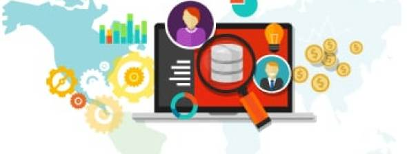 Infographics with magnifying glass