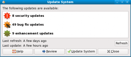 Figure 3: Updates classified as as security, bug fix and enhancement updates
