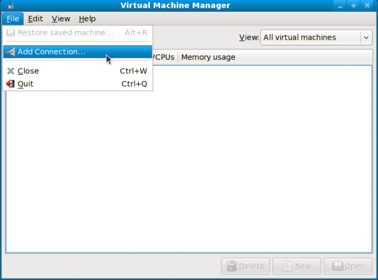 Figure 2: Virt-Manager first run