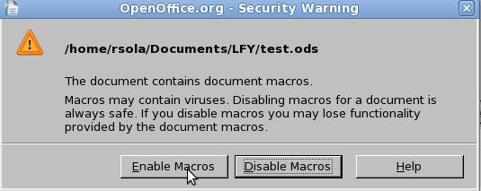 Figure 7: Confirm macro enabling