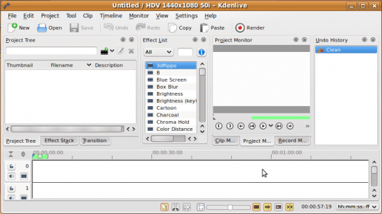 Figure 1: Kdenlive comes with five panes by default