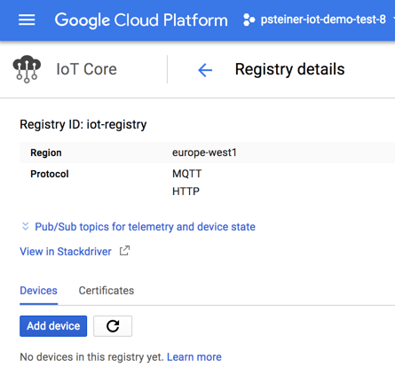 Preparing Google Cloud IoT Core to Receive Messages