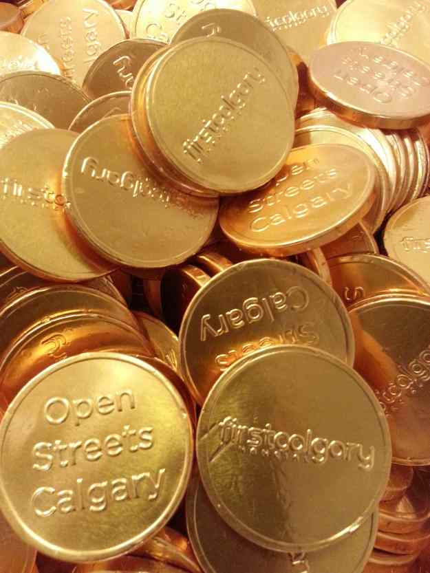 """Gold chocoalte coins given out for pedal power participants. Thanks for the coins 'First Calgary"""""""